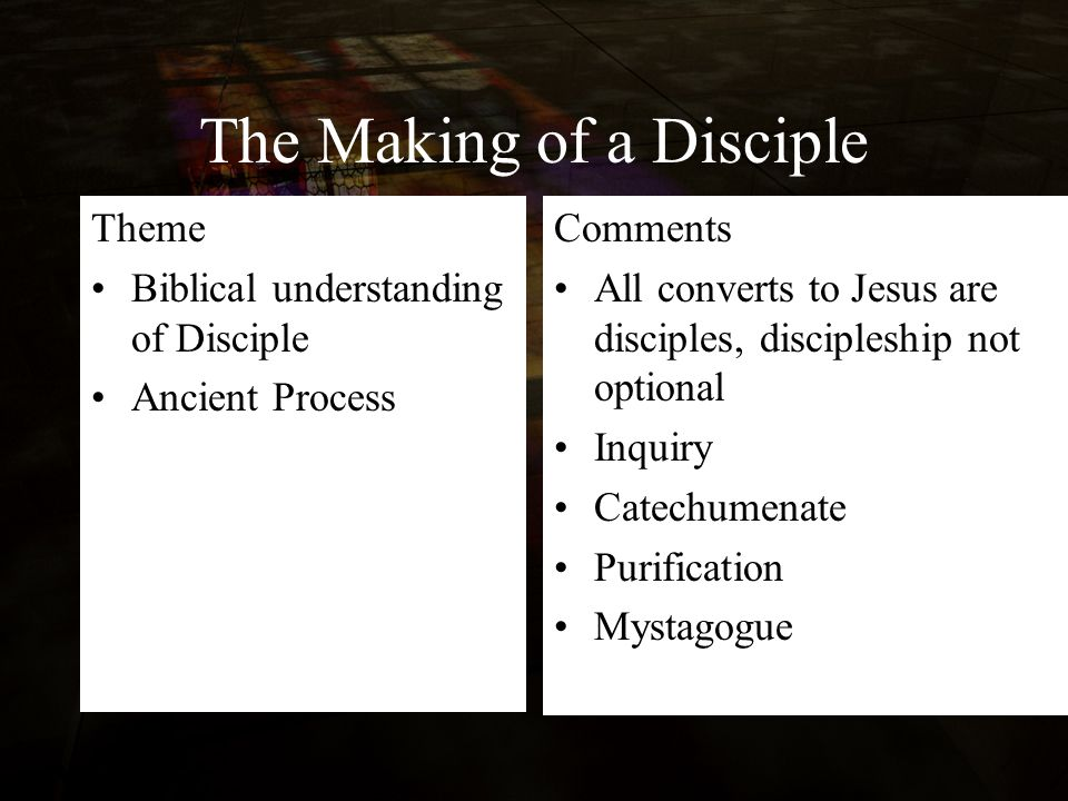 The Making of a Disciple Theme Biblical understanding of Disciple Ancient Process Comments All converts to Jesus are disciples, discipleship not optional Inquiry Catechumenate Purification Mystagogue