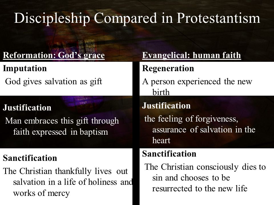 Discipleship Compared in Protestantism Reformation: God's grace Imputation God gives salvation as gift Justification Man embraces this gift through fa