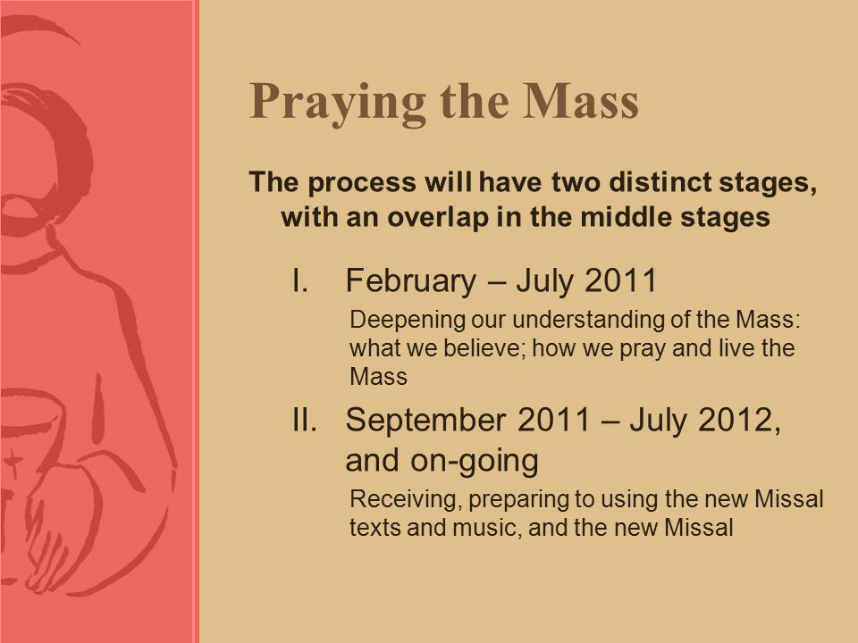 Praying the Mass The process will have two distinct stages, with an overlap in the middle stages I.February – July 2011 Deepening our understanding of the Mass: what we believe; how we pray and live the Mass II.September 2011 – July 2012, and on-going Receiving, preparing to using the new Missal texts and music, and the new Missal