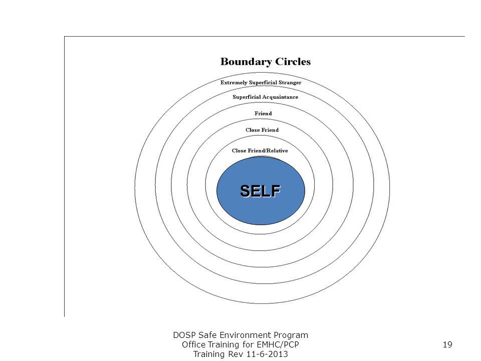 DOSP Safe Environment Program Office Training for EMHC/PCP Training Rev 11-6-2013 19 SELF