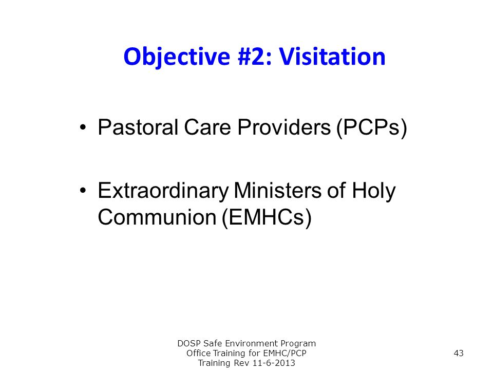 Objective #2: Visitation Pastoral Care Providers (PCPs) Extraordinary Ministers of Holy Communion (EMHCs) DOSP Safe Environment Program Office Trainin