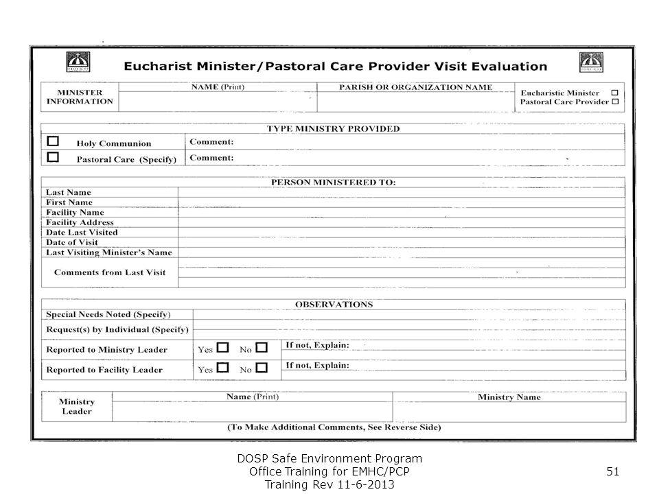 DOSP Safe Environment Program Office Training for EMHC/PCP Training Rev 11-6-2013 51