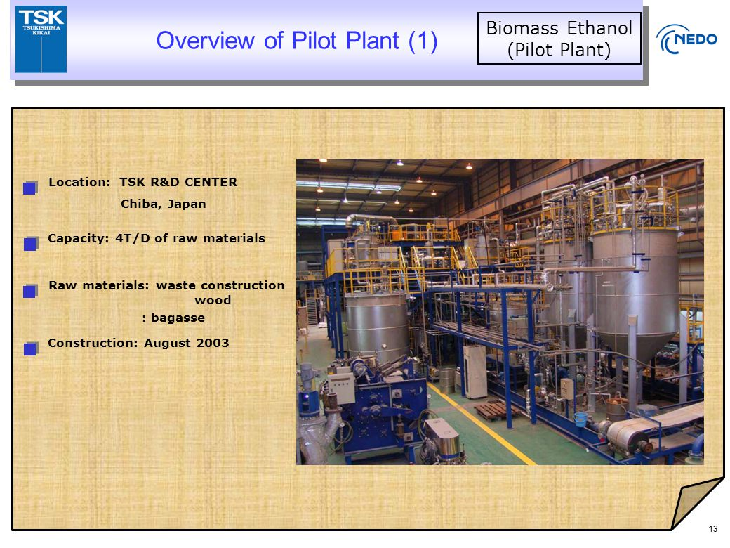 13 Capacity: 4T/D of raw materials Raw materials: waste construction wood Construction: August 2003 Location: TSK R&D CENTER Overview of Pilot Plant (1) Biomass Ethanol (Pilot Plant) : bagasse Chiba, Japan