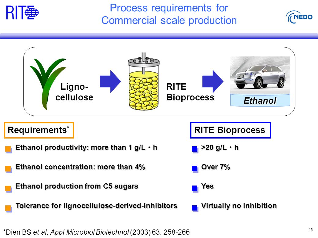 16 Ligno- cellulose RITE Bioprocess Ethanol Process requirements for Commercial scale production *Dien BS et al.
