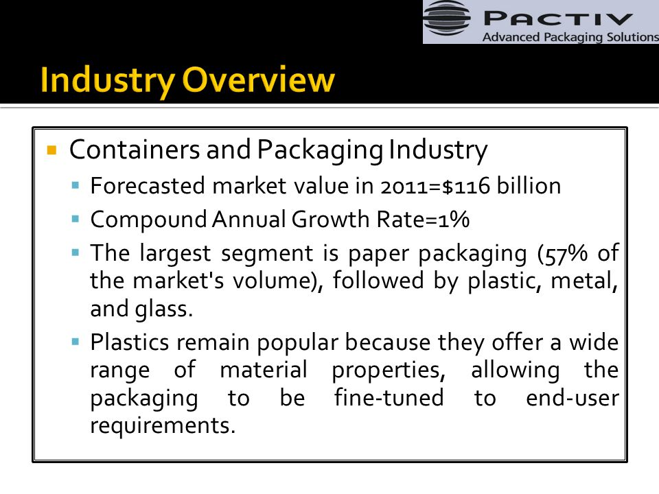  Containers and Packaging Industry  Forecasted market value in 2011=$116 billion  Compound Annual Growth Rate=1%  The largest segment is paper packaging (57% of the market s volume), followed by plastic, metal, and glass.