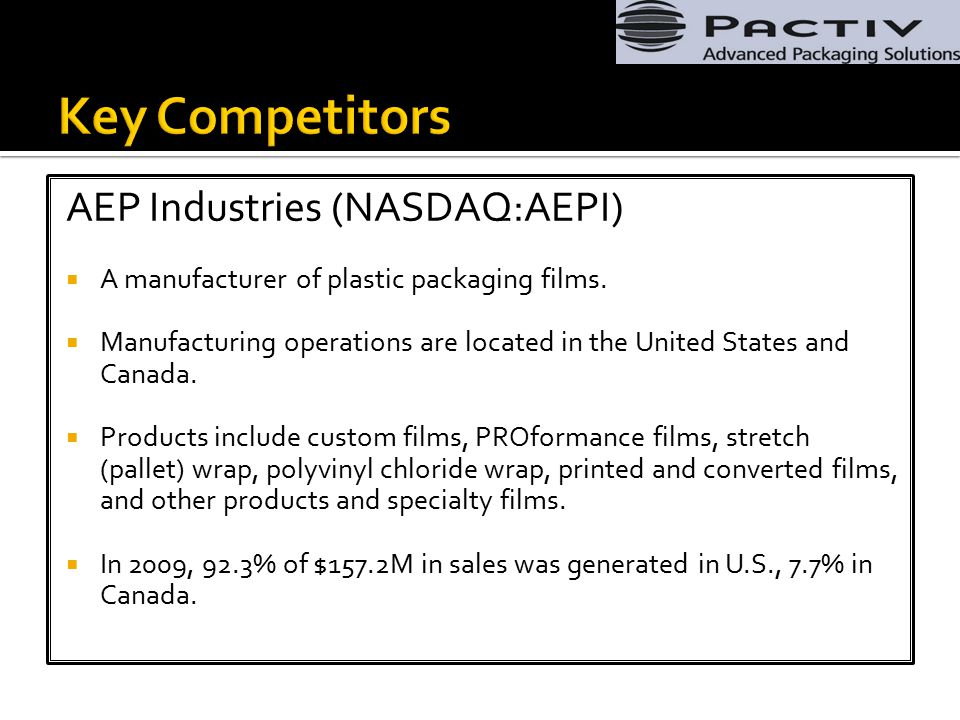 AEP Industries (NASDAQ:AEPI)  A manufacturer of plastic packaging films.