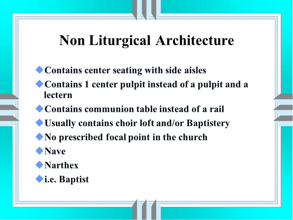 uContains center seating with side aisles uContains 1 center pulpit instead of a pulpit and a lectern uContains communion table instead of a rail uUsu
