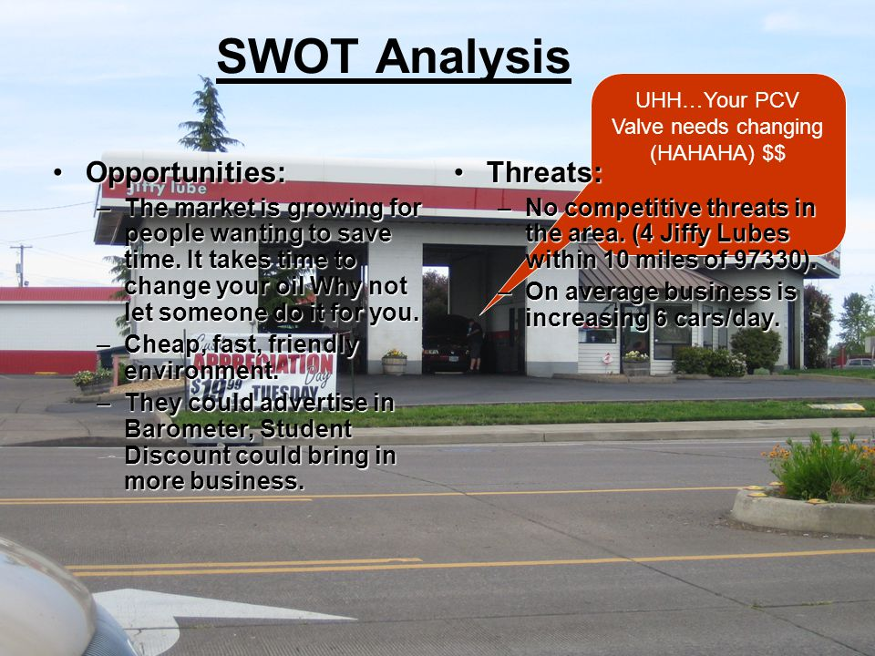 UHH…Your PCV Valve needs changing (HAHAHA) $$ SWOT Analysis Opportunities:Opportunities: –The market is growing for people wanting to save time.