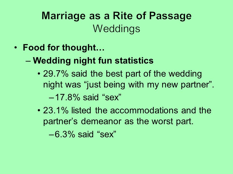 """Food for thought… –Wedding night fun statistics 29.7% said the best part of the wedding night was """"just being with my new partner"""". –17.8% said """"sex"""""""