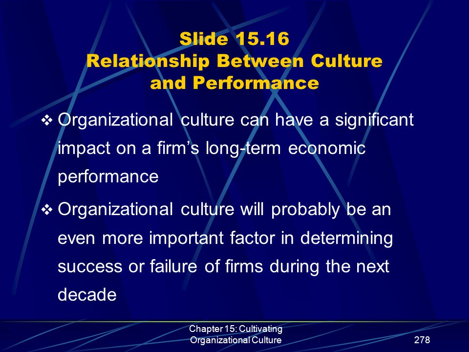 Chapter 15: Cultivating Organizational Culture278 Slide 15.16 Relationship Between Culture and Performance  Organizational culture can have a signifi