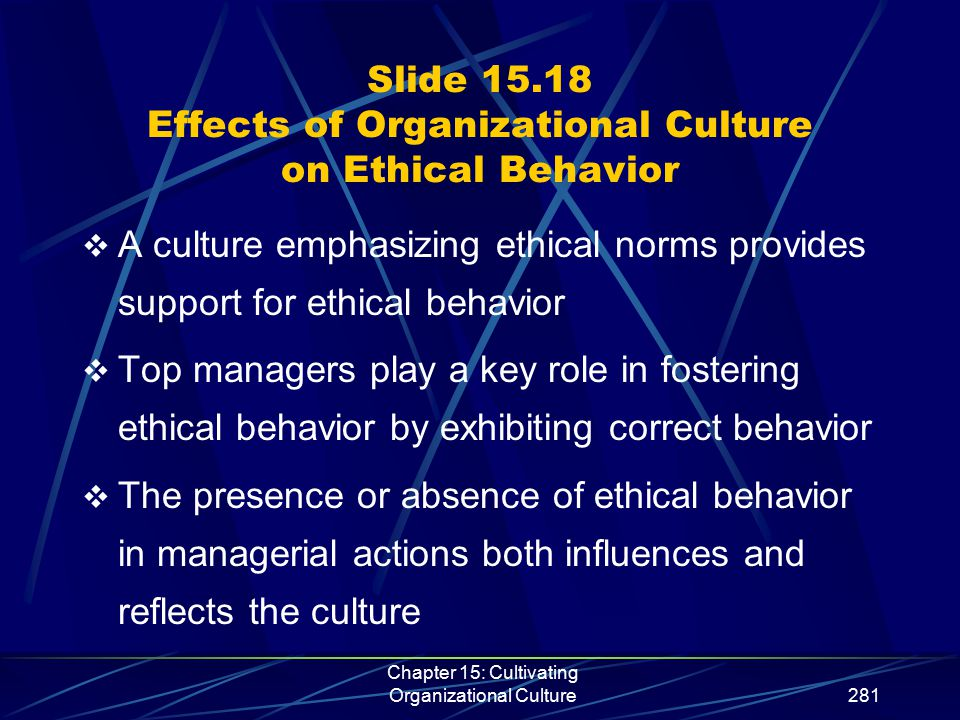 Chapter 15: Cultivating Organizational Culture281 Slide 15.18 Effects of Organizational Culture on Ethical Behavior  A culture emphasizing ethical no