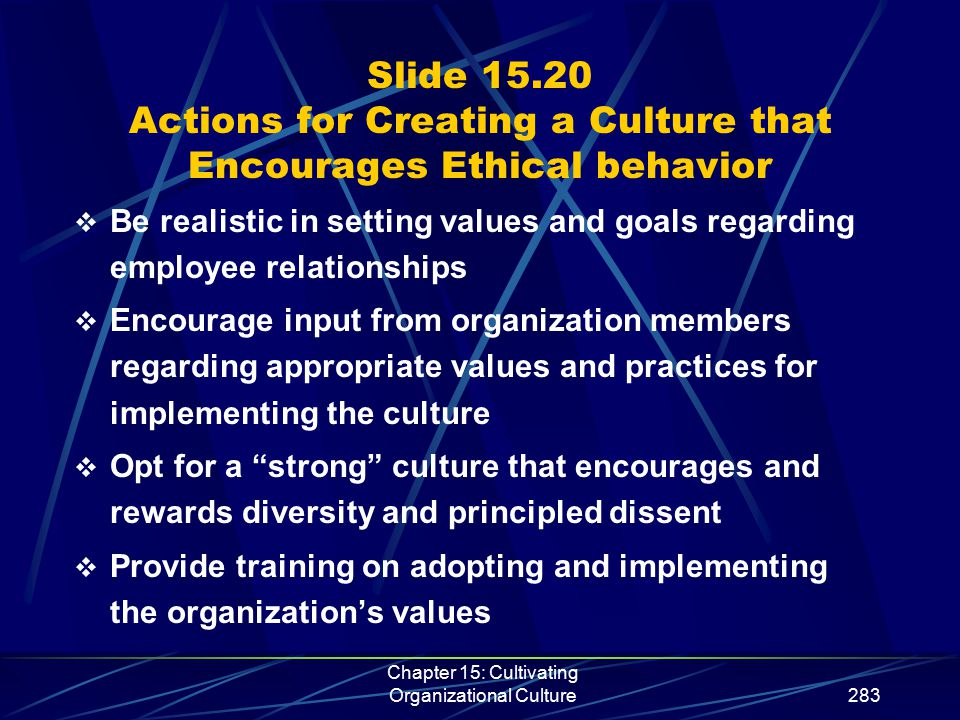 Chapter 15: Cultivating Organizational Culture283 Slide 15.20 Actions for Creating a Culture that Encourages Ethical behavior  Be realistic in settin
