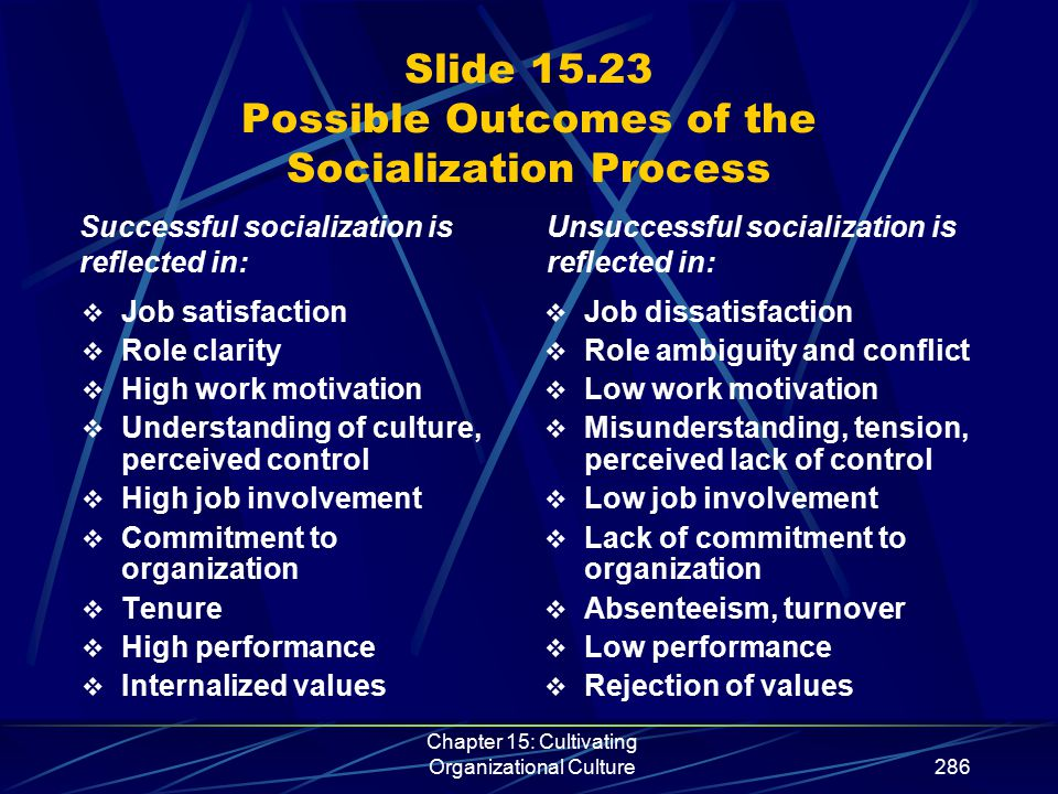Chapter 15: Cultivating Organizational Culture286 Slide 15.23 Possible Outcomes of the Socialization Process  Job satisfaction  Role clarity  High