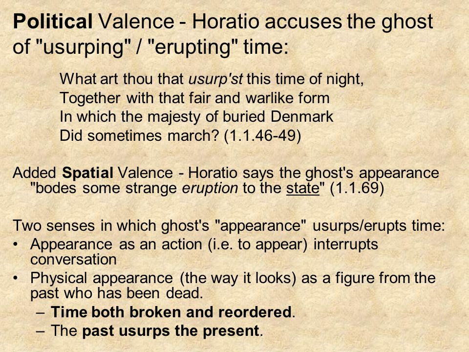Political Valence - Horatio accuses the ghost of usurping / erupting time: What art thou that usurp st this time of night, Together with that fair and warlike form In which the majesty of buried Denmark Did sometimes march.