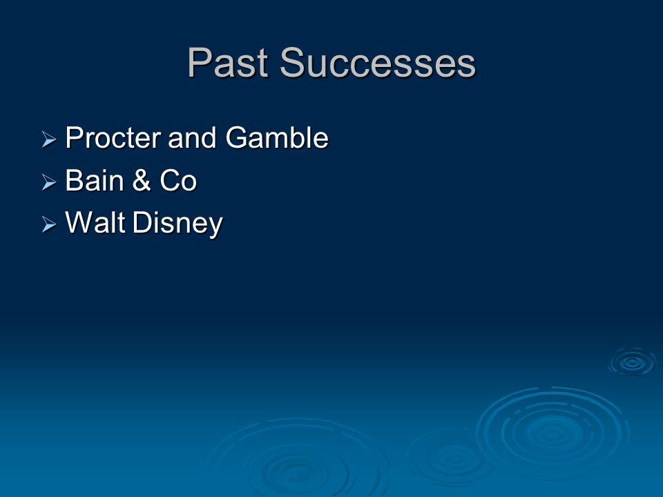 Past Successes  Procter and Gamble  Bain & Co  Walt Disney