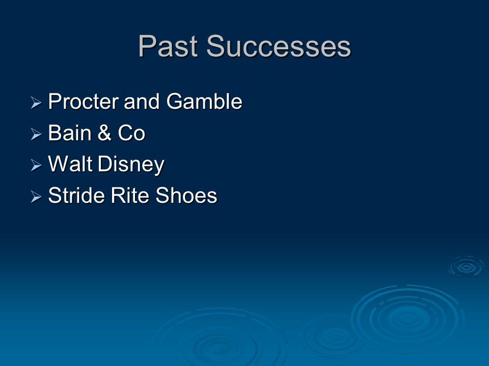 Past Successes  Procter and Gamble  Bain & Co  Walt Disney  Stride Rite Shoes