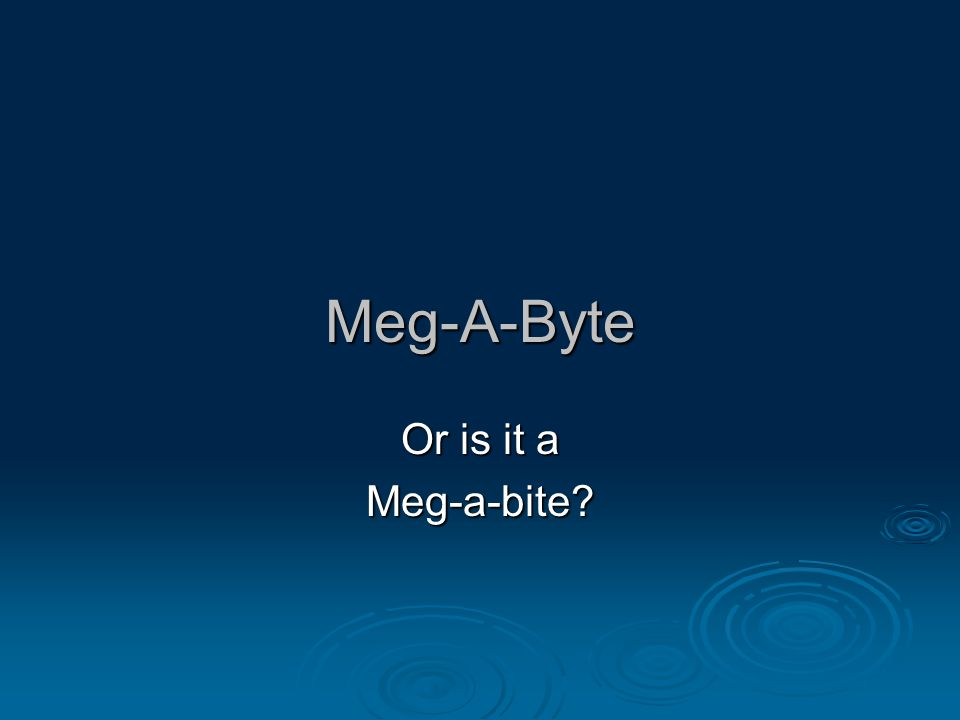 Meg-A-Byte Or is it a Meg-a-bite
