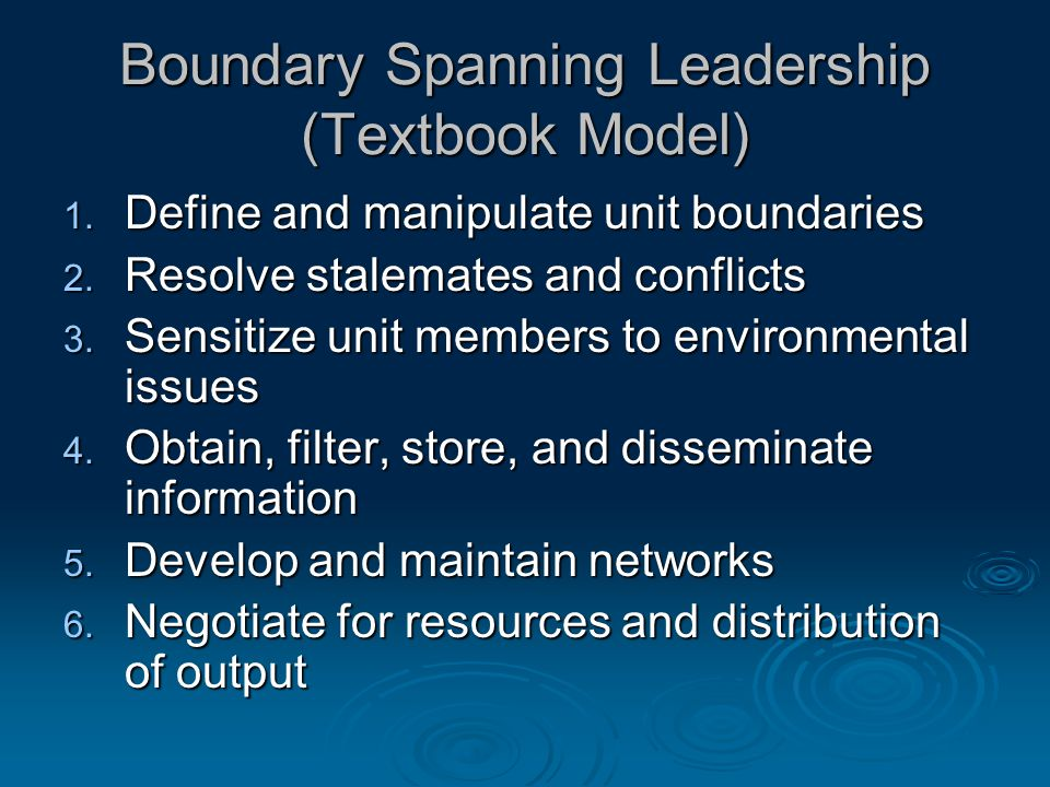 Boundary Spanning Leadership (Textbook Model) 1. Define and manipulate unit boundaries 2.