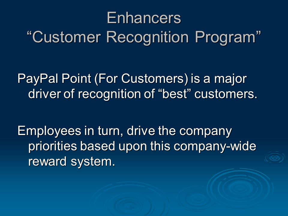 Enhancers Customer Recognition Program PayPal Point (For Customers) is a major driver of recognition of best customers.
