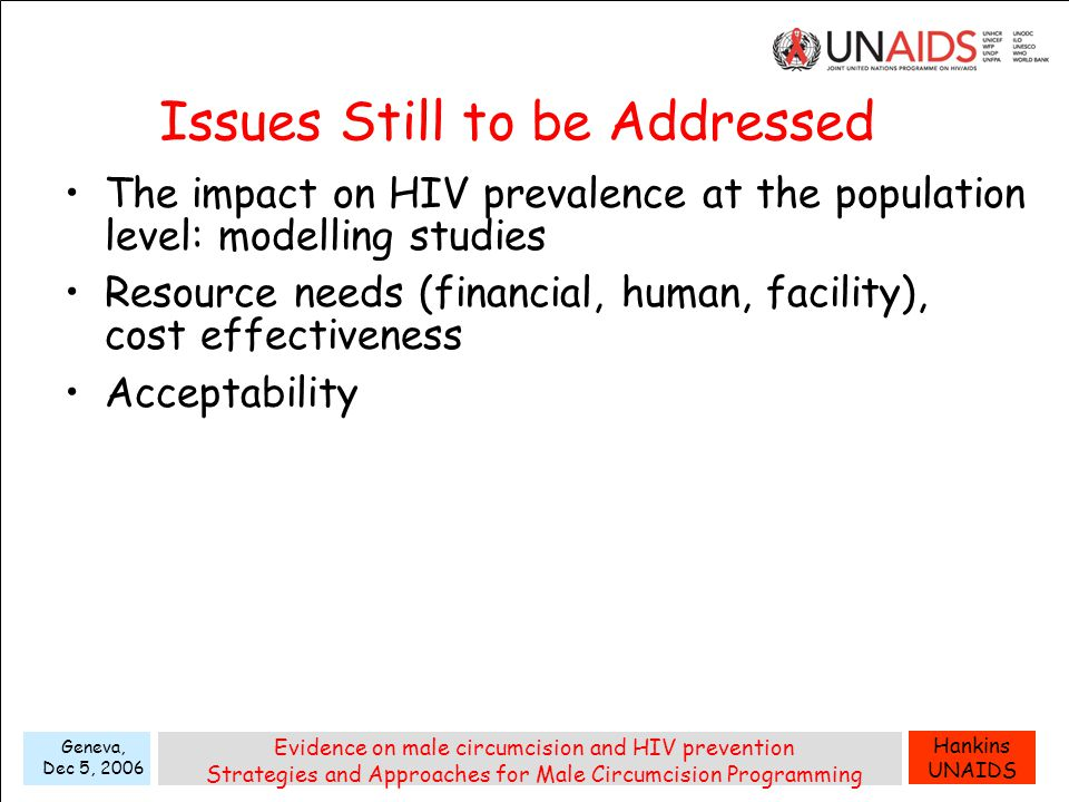 Hankins UNAIDS Geneva, Dec 5, 2006 Evidence on male circumcision and HIV prevention Strategies and Approaches for Male Circumcision Programming Issues Still to be Addressed The impact on HIV prevalence at the population level: modelling studies Resource needs (financial, human, facility), cost effectiveness Acceptability