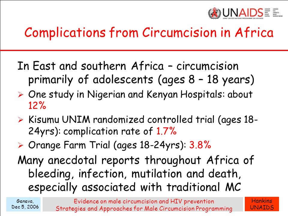 Hankins UNAIDS Geneva, Dec 5, 2006 Evidence on male circumcision and HIV prevention Strategies and Approaches for Male Circumcision Programming Complications from Circumcision in Africa In East and southern Africa – circumcision primarily of adolescents (ages 8 – 18 years)  One study in Nigerian and Kenyan Hospitals: about 12%  Kisumu UNIM randomized controlled trial (ages 18- 24yrs): complication rate of 1.7%  Orange Farm Trial (ages 18-24yrs): 3.8% Many anecdotal reports throughout Africa of bleeding, infection, mutilation and death, especially associated with traditional MC
