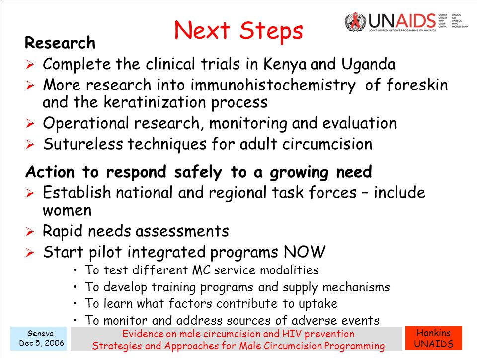 Hankins UNAIDS Geneva, Dec 5, 2006 Evidence on male circumcision and HIV prevention Strategies and Approaches for Male Circumcision Programming Next Steps Research  Complete the clinical trials in Kenya and Uganda  More research into immunohistochemistry of foreskin and the keratinization process  Operational research, monitoring and evaluation  Sutureless techniques for adult circumcision Action to respond safely to a growing need  Establish national and regional task forces – include women  Rapid needs assessments  Start pilot integrated programs NOW To test different MC service modalities To develop training programs and supply mechanisms To learn what factors contribute to uptake To monitor and address sources of adverse events