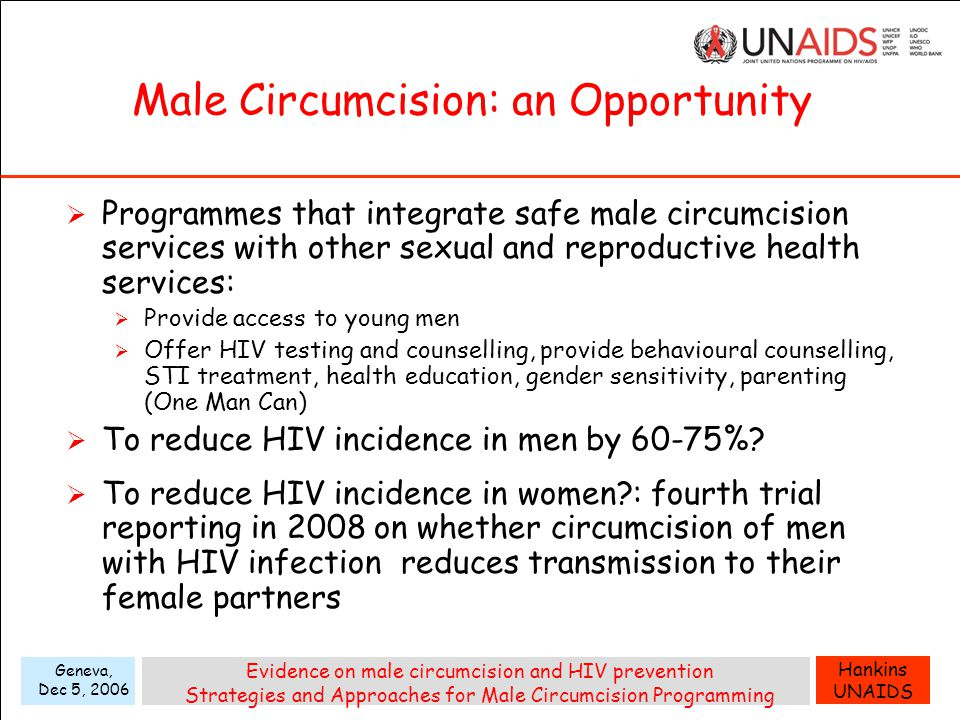 Hankins UNAIDS Geneva, Dec 5, 2006 Evidence on male circumcision and HIV prevention Strategies and Approaches for Male Circumcision Programming Male Circumcision: an Opportunity  Programmes that integrate safe male circumcision services with other sexual and reproductive health services:  Provide access to young men  Offer HIV testing and counselling, provide behavioural counselling, STI treatment, health education, gender sensitivity, parenting (One Man Can)  To reduce HIV incidence in men by 60-75%.