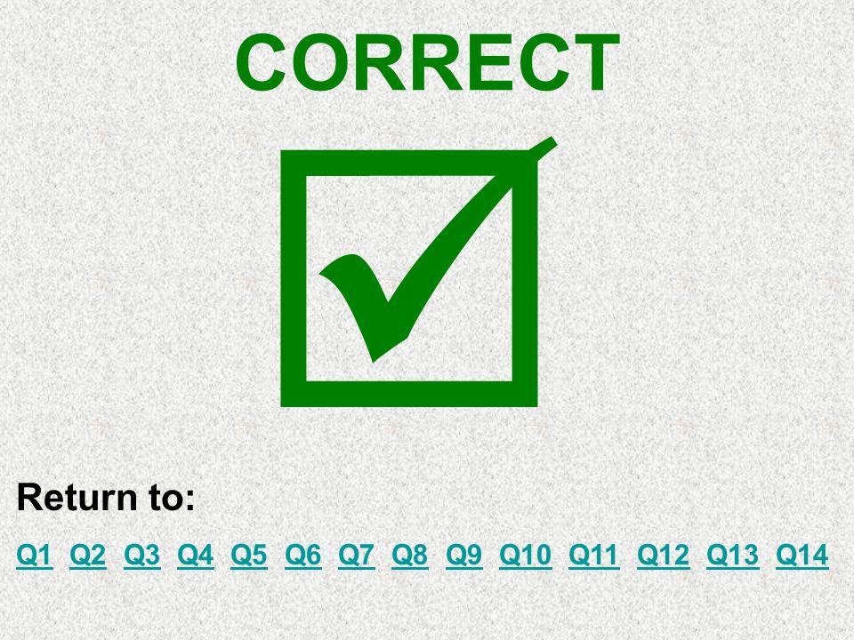 CORRECT Return to: Q1Q1 Q2 Q3 Q4 Q5 Q6 Q7 Q8 Q9 Q10 Q11 Q12 Q13 Q14Q2Q3Q4Q5Q6Q7Q8Q9Q10Q11Q12Q13Q14 