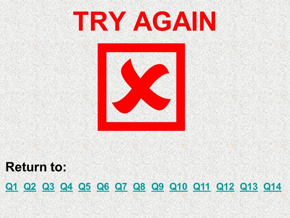 TRY AGAIN Return to: Q1Q1 Q2 Q3 Q4 Q5 Q6 Q7 Q8 Q9 Q10 Q11 Q12 Q13 Q14Q2Q3Q4Q5Q6Q7Q8Q9Q10Q11Q12Q13Q14 