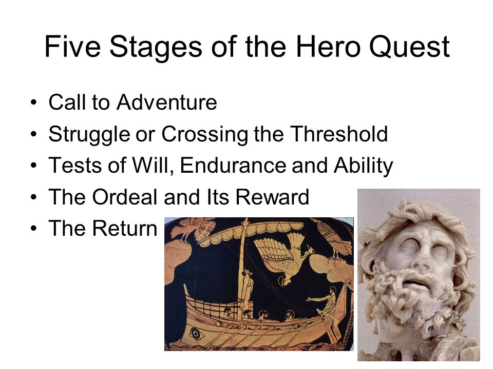 Five Stages of the Hero Quest Call to Adventure Struggle or Crossing the Threshold Tests of Will, Endurance and Ability The Ordeal and Its Reward The Return