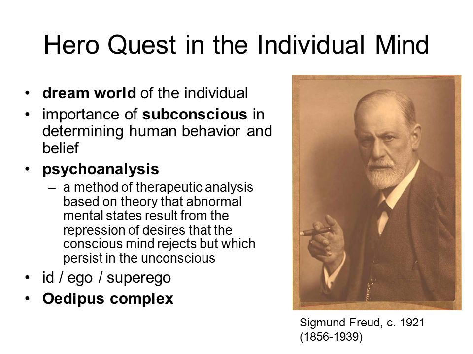 Hero Quest in the Individual Mind dream world of the individual importance of subconscious in determining human behavior and belief psychoanalysis –a method of therapeutic analysis based on theory that abnormal mental states result from the repression of desires that the conscious mind rejects but which persist in the unconscious id / ego / superego Oedipus complex Sigmund Freud, c.