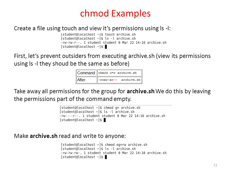 chmod Examples Create a file using touch and view it's permissions using ls -l: First, let's prevent outsiders from executing archive.sh (view its per