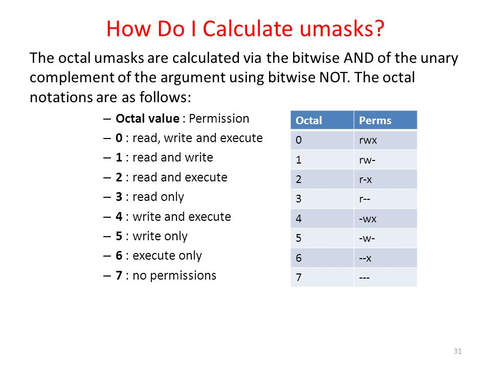 How Do I Calculate umasks? The octal umasks are calculated via the bitwise AND of the unary complement of the argument using bitwise NOT. The octal no