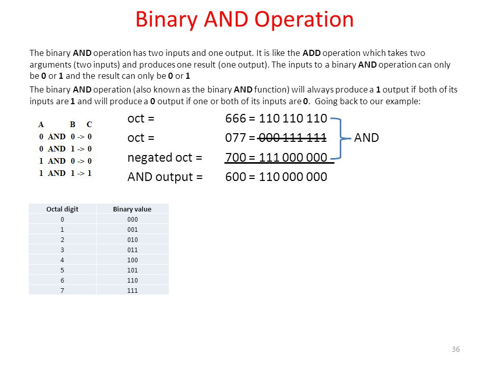 Binary AND Operation The binary AND operation has two inputs and one output. It is like the ADD operation which takes two arguments (two inputs) and p