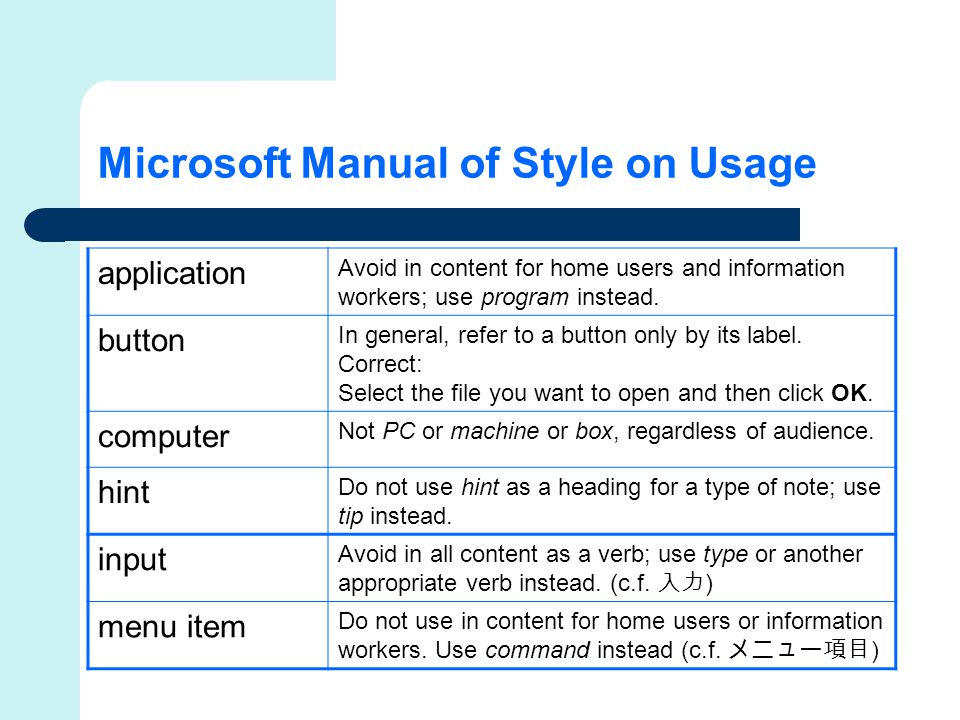 Microsoft Manual of Style on Usage application Avoid in content for home users and information workers; use program instead.