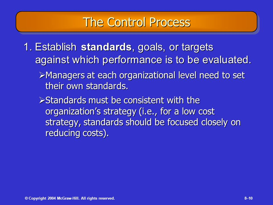 © Copyright 2004 McGraw-Hill. All rights reserved.8–10 The Control Process 1.