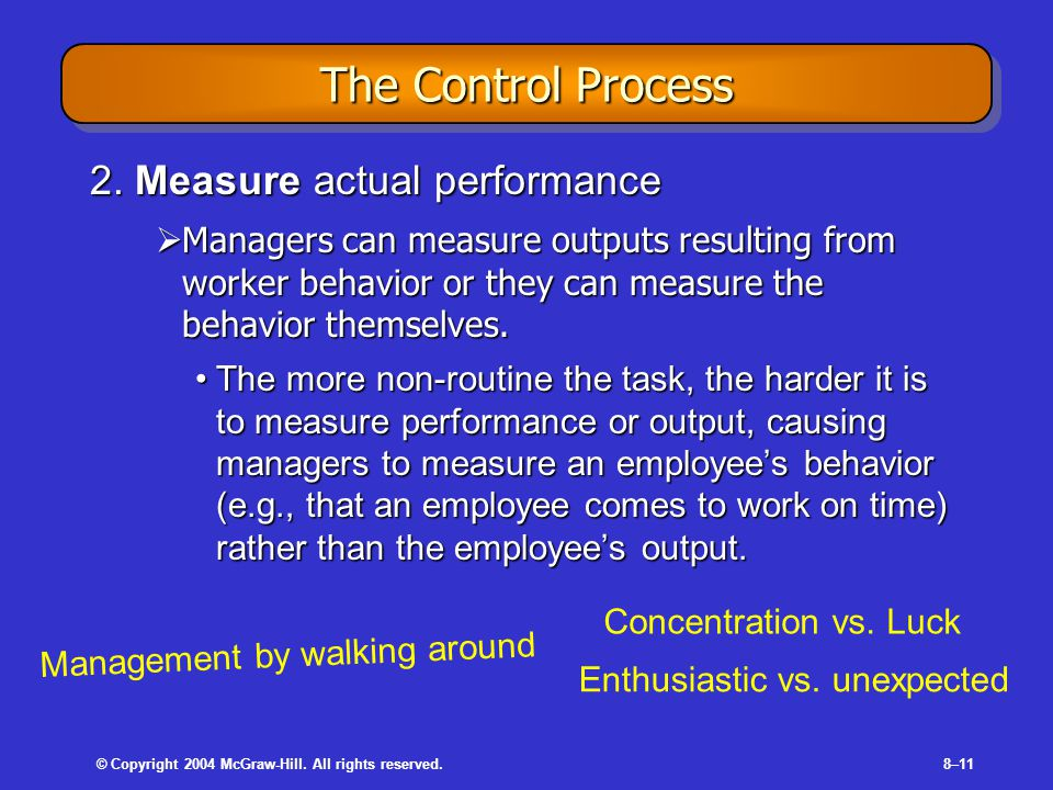 © Copyright 2004 McGraw-Hill. All rights reserved.8–11 The Control Process 2. Measure actual performance  Managers can measure outputs resulting from
