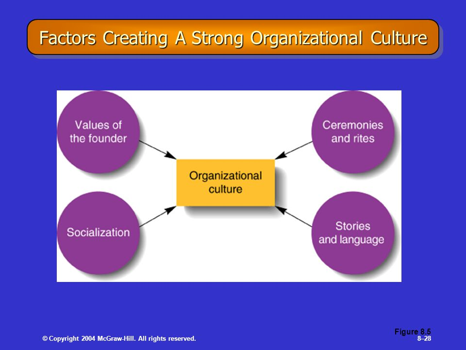 © Copyright 2004 McGraw-Hill. All rights reserved.8–28 Factors Creating A Strong Organizational Culture Figure 8.5