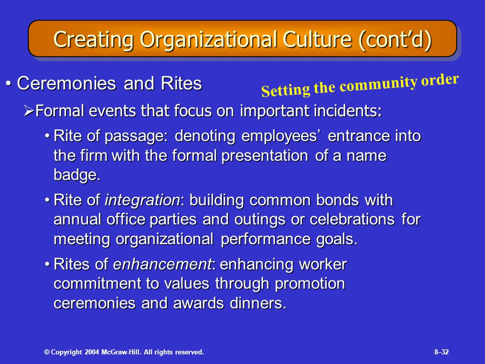 © Copyright 2004 McGraw-Hill. All rights reserved.8–32 Creating Organizational Culture (cont'd) Ceremonies and RitesCeremonies and Rites  Formal even