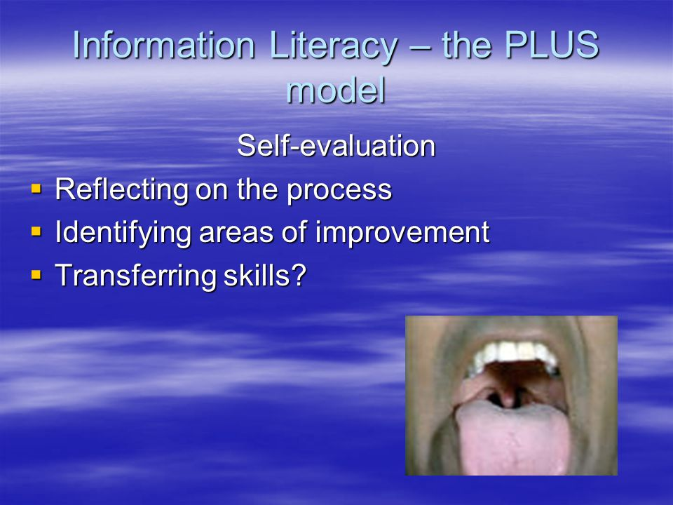 Information Literacy – the PLUS model Self-evaluation  Reflecting on the process  Identifying areas of improvement  Transferring skills