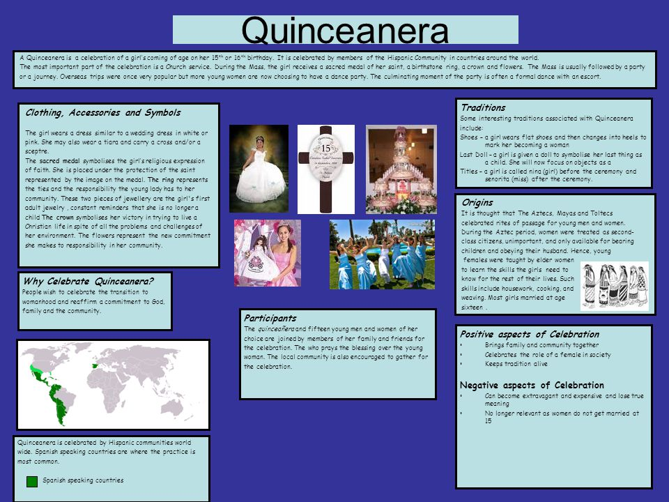 Quinceanera A Quinceanera is a celebration of a girl's coming of age on her 15 th or 16 th birthday.