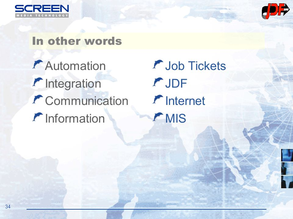 34 In other words Automation Integration Communication Information Job Tickets JDF Internet MIS