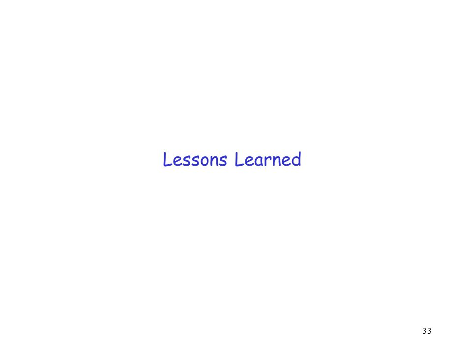 33 Lessons Learned