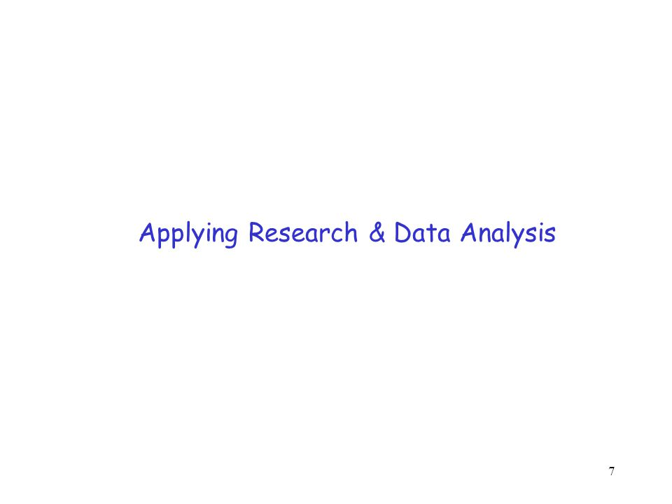 7 Applying Research & Data Analysis
