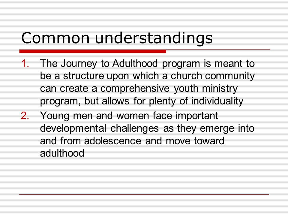Common understandings 1.The Journey to Adulthood program is meant to be a structure upon which a church community can create a comprehensive youth ministry program, but allows for plenty of individuality 2.Young men and women face important developmental challenges as they emerge into and from adolescence and move toward adulthood