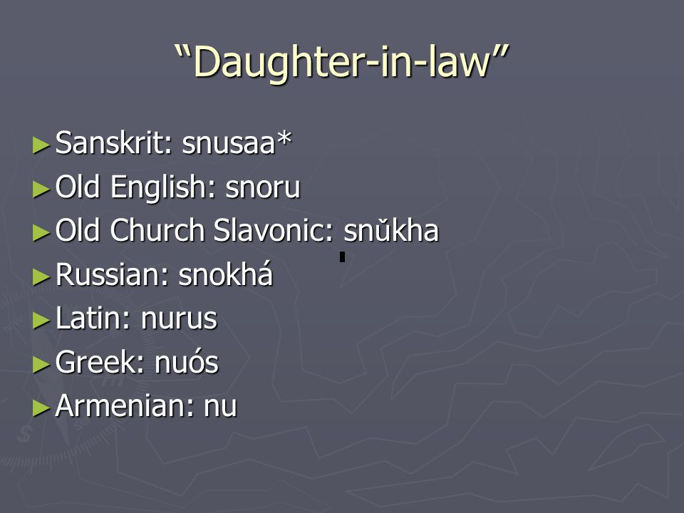 """Daughter-in-law"" ► Sanskrit: snusaa* ► Old English: snoru ► Old Church Slavonic: sn ǔ kha ► Russian: snokhá ► Latin: nurus ► Greek: nuós ► Armenian:"