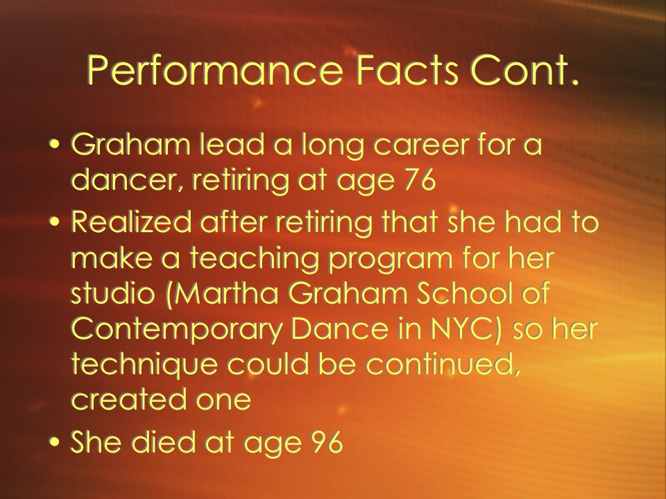 Performance Facts Cont.