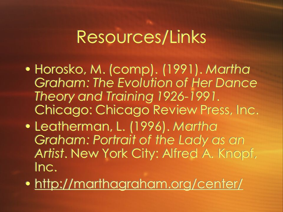 Resources/Links Horosko, M. (comp). (1991).