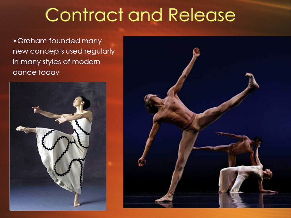 Contract and Release This included the contraction and release of the torso (contraction seen in picture on left) Also included was flexing of the hands and feet (seen below) This included the contraction and release of the torso (contraction seen in picture on left) Also included was flexing of the hands and feet (seen below) Graham founded many new concepts used regularly in many styles of modern dance today