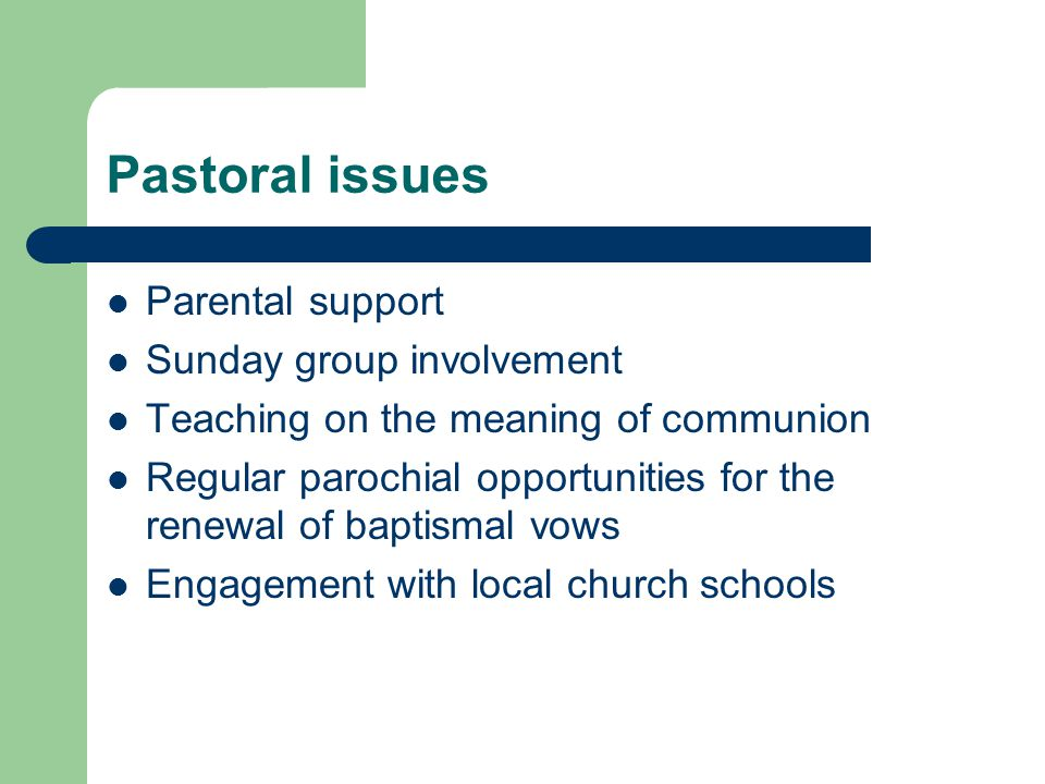 Parental support Sunday group involvement Teaching on the meaning of communion Regular parochial opportunities for the renewal of baptismal vows Engagement with local church schools